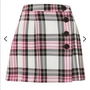 Topshop Tartan Checked Button Kilt A-Line Skirt